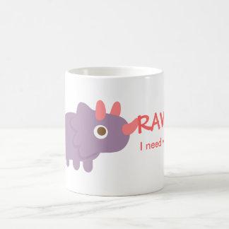 Taza De Café Rawr, necesito el agua, dinosaurio divertido del
