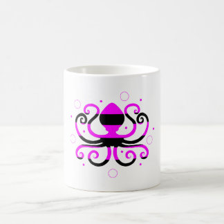 Taza de café rayada del pulpo