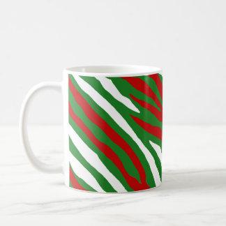 Taza De Café Rayas de la cebra del navidad