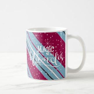 Taza De Café Rayas ID440 azul del navidad de la magia y de la