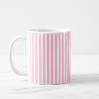 Taza De Café Rayas rosadas y blancas suaves verticales