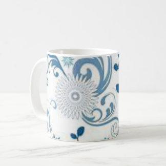 Taza De Café Remolinos y flores del azul