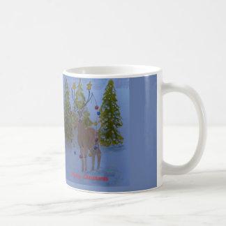 Taza De Café Reno con las astas adornadas, Felices Navidad