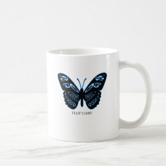 Taza De Café Resplandor azul negro de Flutterby