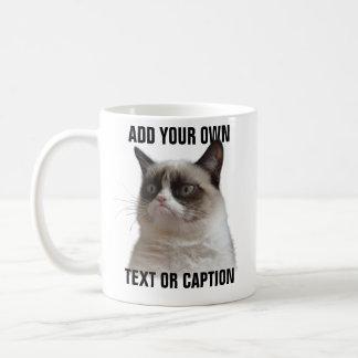 Taza De Café Resplandor gruñón del gato - añada su propio texto