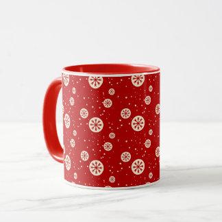 Taza de café retra del día de fiesta de los copos