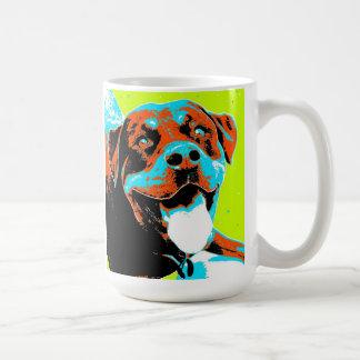 Taza De Café Retrato brillante y de la diversión de Rottweiler