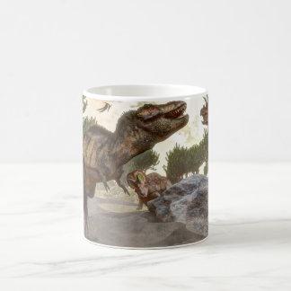 Taza De Café Rex del Tyrannosaurus que se escapa de ataque del