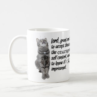 Taza De Café Rezo divertido de la serenidad con los gatos