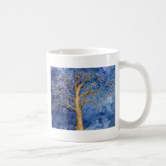Taza De Café Roble del invierno de la acuarela