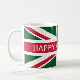 Taza De Café Rojo, verde y blanco del ~ de Union Jack del