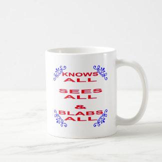 Taza De Café Sabe que todo ve a todos los habladores todos