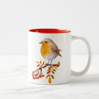 taza de café salvaje de las bayas del pájaro del