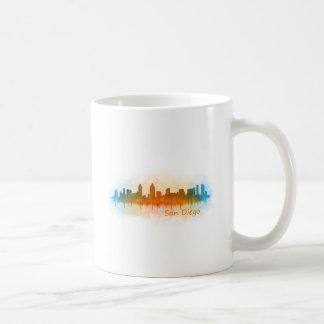 Taza De Café San Diego California City Skyline Watercolor v03