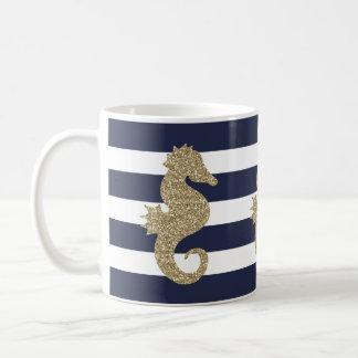 Taza De Café Seahorse lindo del oro en la marina de guerra/la