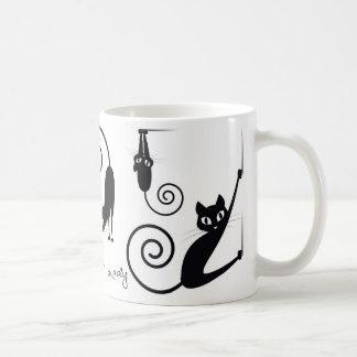 Taza De Café Señora loca Mug del gato, con los gatos elegantes