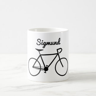 Taza De Café Silueta simple de la bicicleta + Nombre