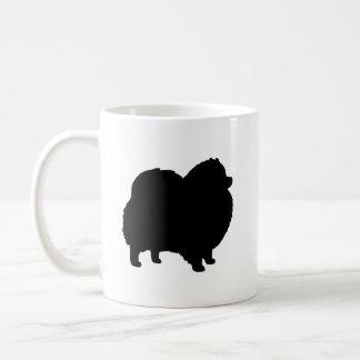 Taza De Café Siluetas negras de Pomeranian