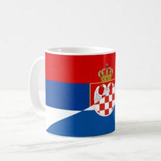 Taza De Café símbolo del país de la bandera de Serbia Croacia