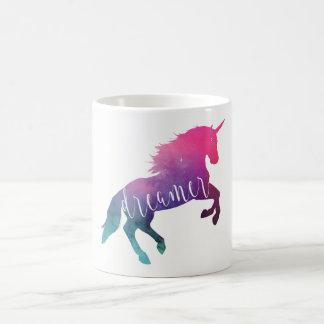 Taza De Café Soñador rosado del unicornio del espacio