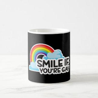 Taza De Café Sonría si usted es orgullo gay del arco iris LGBT