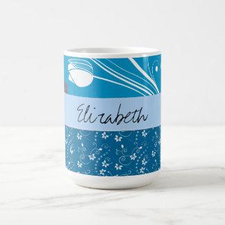 Taza De Café Su nombre - hojas, remolinos, puntos - blanco azul