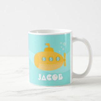 Taza De Café Submarino amarillo lindo, subacuático, para los