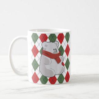 Taza De Café Suéter feo del navidad del oso polar de la tela