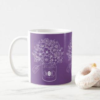 Taza De Café Tarro de albañil a mano del ramo de los