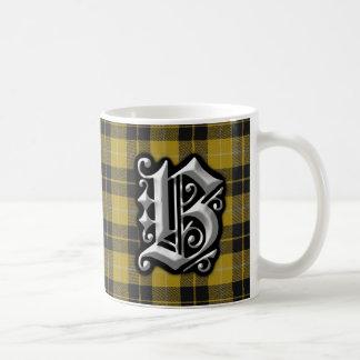Taza De Café Tartán del vestido del monograma de la letra B de