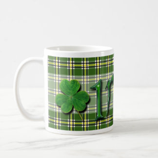 Taza De Café Tartán encantador afortunado irlandés del verde