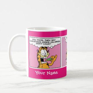 """Taza De Café """"Taza de la historieta de Garfield de las calorías"""