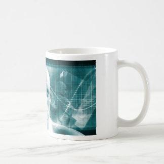Taza De Café Tecnología futurista de la ciencia médica como