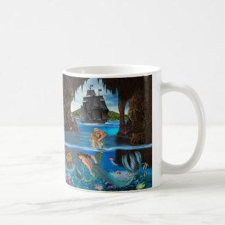 Taza De Café Tesoro del arrecife de coral de la sirena