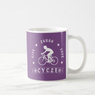 Taza De Café Texto de Live Laugh Love Cycle de señora (rosa)