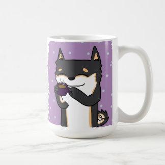 Taza De Café ¡Tiempo Shiba del café! - Negro y moreno