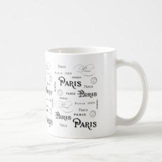 Taza De Café Tipografía 1889 de la palabra de París y marcas
