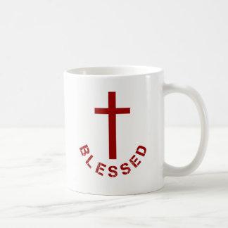 Taza De Café Tipografía bendecida cristiano de la Cruz Roja