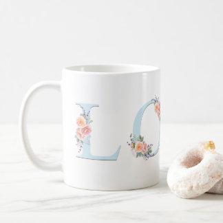 Taza De Café Tipografía floral en colores pastel del alfabeto