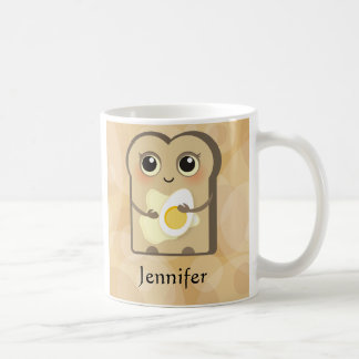 Taza De Café Toasties lindo - mantequilla y huevo