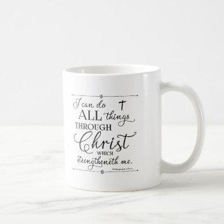 Taza De Café Todas las cosas a través de Cristo - 4:13 de los