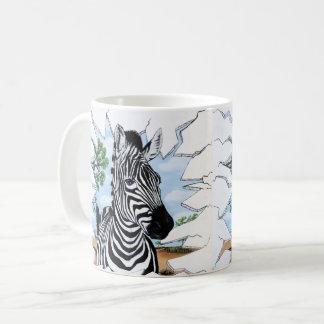Taza de café tonta de la cebra
