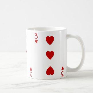 Taza De Café Tres del naipe de los corazones