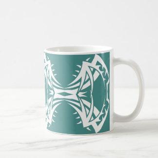 Taza De Café Tribal mug 14 white over blue