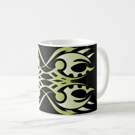 Taza De Café Tribal mug 18 green over black