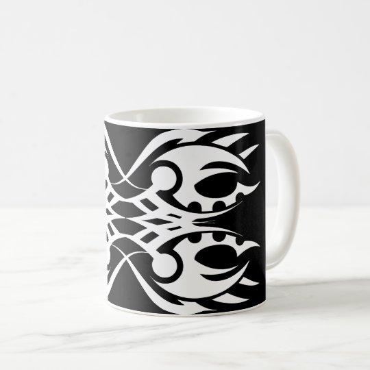 Taza De Café Tribal mug 18 white over black