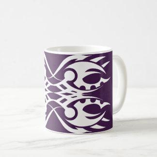Taza De Café Tribal mug 18 white over purple