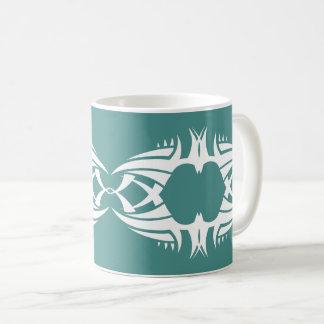 Taza De Café Tribal mug crow white over blue