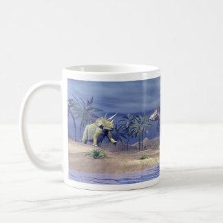 Taza De Café Triceratops que ataca del Tyrannosaurus - 3D