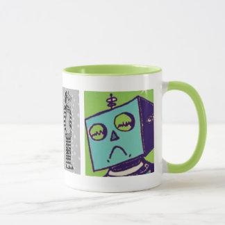 Taza de café triste del robot